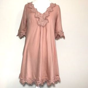 Hinge Lace Trim Shift Dress Blush Pink size XS
